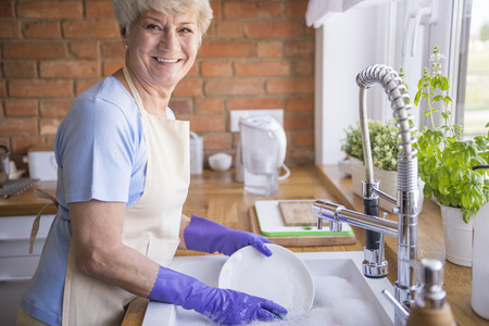 short gloves: Last clearing up and everything in done Stock Photo