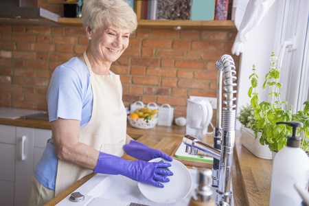 dish washing gloves: She is a perfect housewife