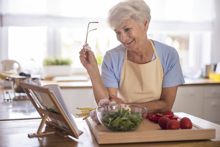 checking ingredients: Everything must be done by the recipe Stock Photo