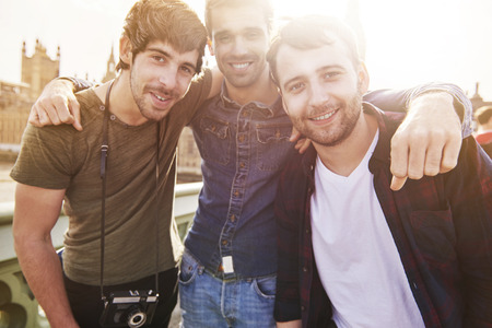 smiling man: Summer holiday with the best friends