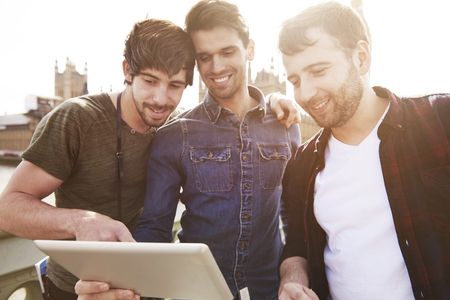group of men: Helpful information only in the wireless Internet