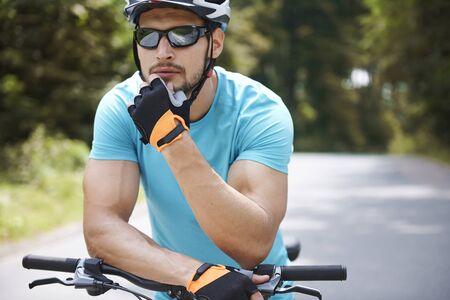 eyewear: Man planning his bicycle destination