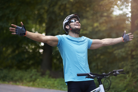 sports clothing: Cyclist on the finish line
