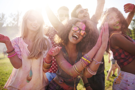 fun colors: We are at the best festival ever! Stock Photo