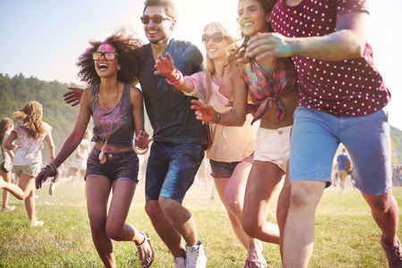live action: Gates are open! We can start dancing! Stock Photo