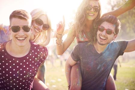 友達と夏の祭典 写真素材