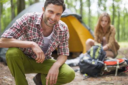 camping: Couple on camping in the forest