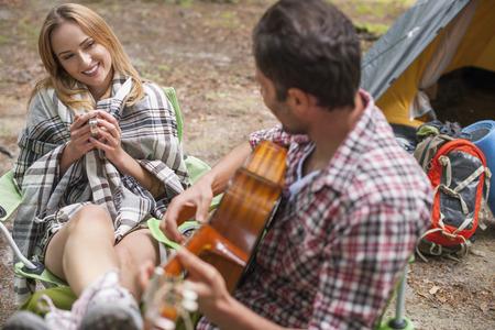 enjoyable: Enjoyable day  on the camping Stock Photo