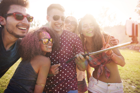 summer festival: One more selfie and we can dance Stock Photo