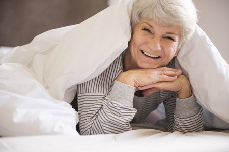 comfortable: Its the most comfortable bed! Stock Photo