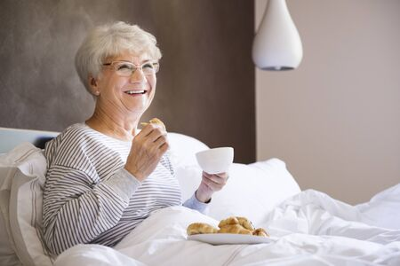 day bed: Good breakfast make that day will be much better Stock Photo