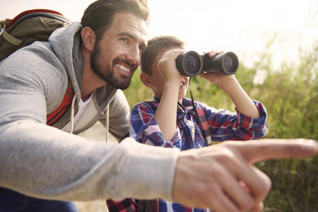 binoculars: Adventures for boy is always good idea for weekend
