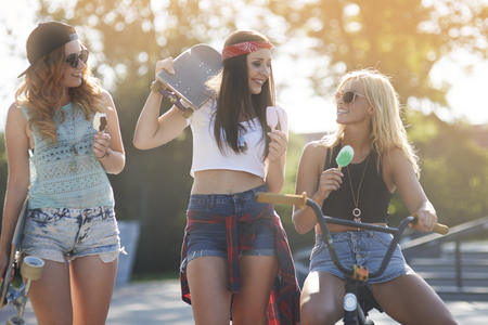 those: Those girls always keep together like best friends Stock Photo