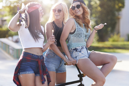 talkative: Talkative teenage girls in the skatepark Stock Photo