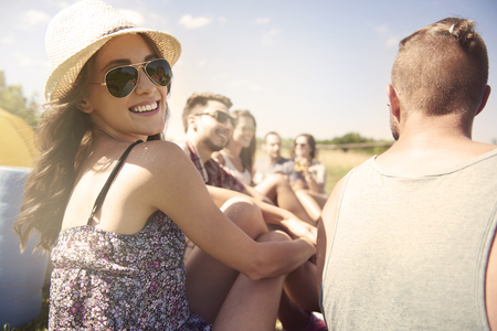 obscured face: Group of friends spending nice time together Stock Photo