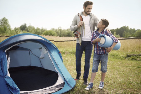father and son: Lets our camping adventure begin now