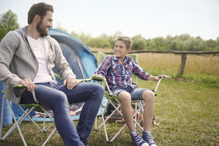 pitching: After pitching a tent we can relax