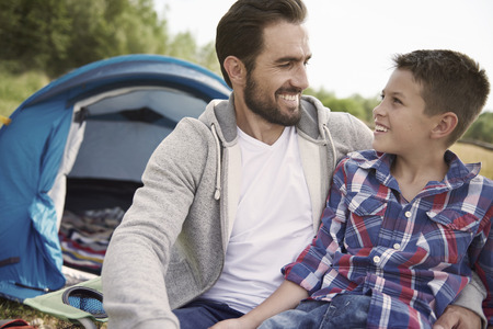 father and son: I can talk with my father about everything Stock Photo