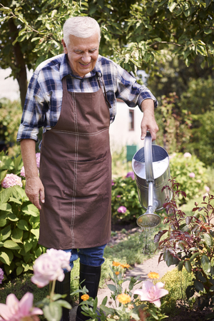 non urban: Old man watering flowers in his garden