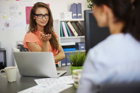 job interview: Can you tell me something more about it? Stock Photo