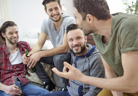 only men: Best friends relaxing together during the weekend