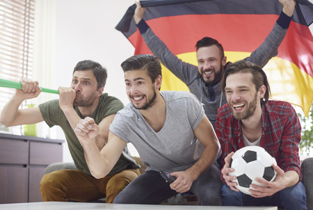 sport celebration: Very exciting match only with best friends