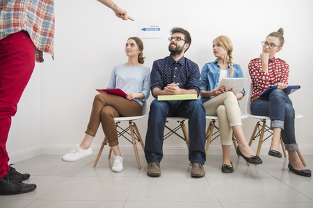 one person only: Only one person can take this job Stock Photo