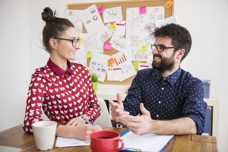 lively: Lively conversation between two colleagues Stock Photo