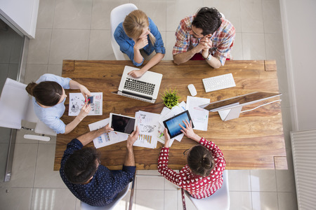 meeting table: High angle view at the office interior Stock Photo