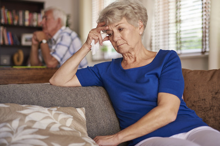 senior woman: Sometimes not everything is fine Stock Photo