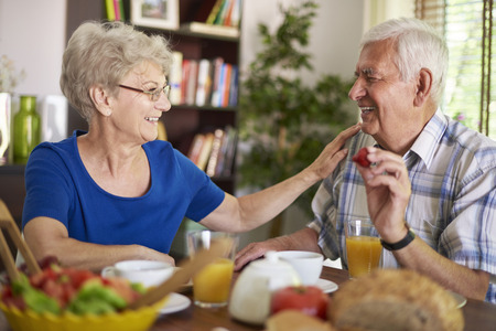 enjoyment: They love spending time together in the morning Stock Photo