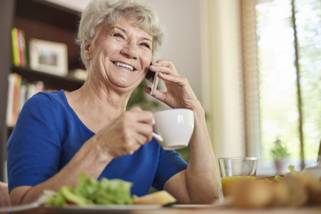 senior living: Free time, good coffee and some talks Stock Photo