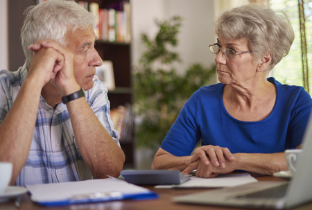 financial problems: Financial problems of senior couple Stock Photo