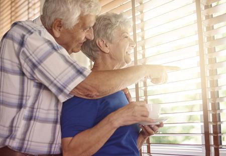 old women: Elder couple having a coffee break Stock Photo