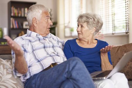 decission: Senior marriage spreading their arms Stock Photo