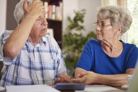 elderly people: They have a very serious problem now Stock Photo