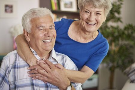funny people: Portrait of laughing senior marriage Stock Photo