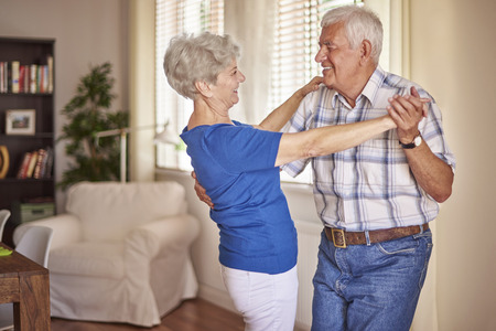 dancing: Good mood is very important at this age Stock Photo