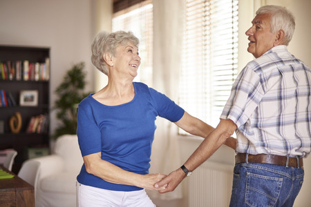 old people smiling: It is never too late to learn how to dance