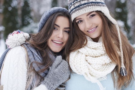 best friend: Winter walk with my best friend Stock Photo