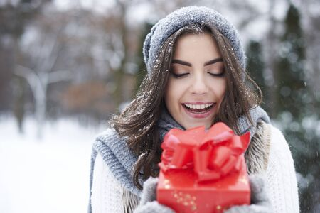 christmas woman: I got the best present in the world Stock Photo