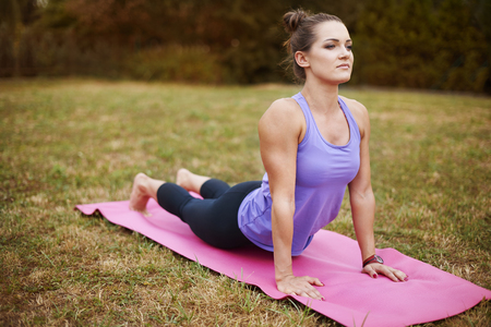 stretching condition: This kind of exercises can teach you patience Stock Photo