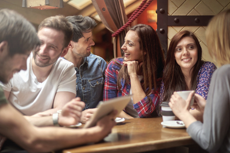youth culture: Free time with my friends in the cafe Stock Photo