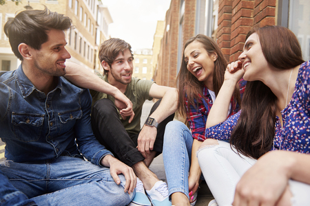 group meeting: Waiting for a while is not a problem for us Stock Photo