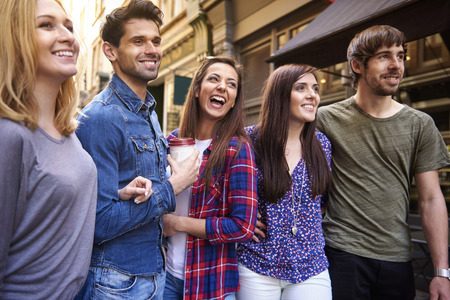 people laughing: The day with friends always is full of laugh Stock Photo