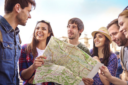 people: Great journey only with my best friends Stock Photo