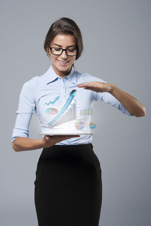 business in hand: Interesting me only the growth Stock Photo