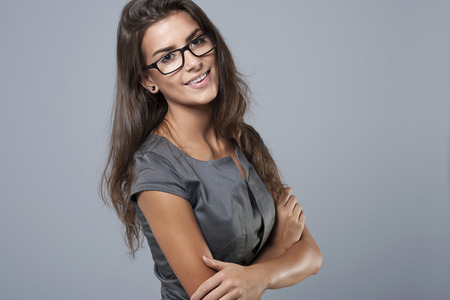 woman  glasses: Im confident a businesswoman in big company
