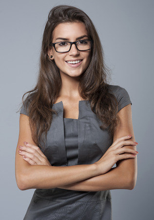 female boss: Strict boss can also be cheerful Stock Photo