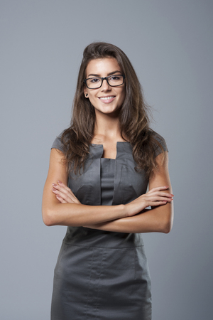 Beautiful woman is ready for work Stock Photo